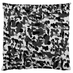 Grey Camo Large Flano Cushion Case (one Side) by snowwhitegirl