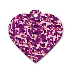Pink Camo Dog Tag Heart (two Sides)