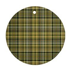 Yellow Plaid Ornament (round)