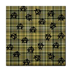 Yellow Plaid Anarchy Tile Coasters
