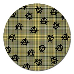 Yellow Plaid Anarchy Magnet 5  (round) by snowwhitegirl