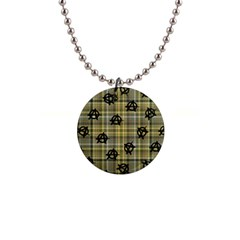 Yellow Plaid Anarchy Button Necklaces