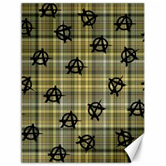 Yellow Plaid Anarchy Canvas 12  X 16   by snowwhitegirl