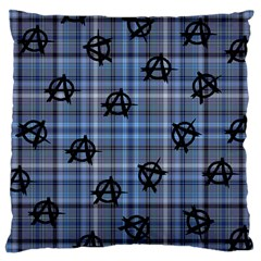 Blue  Plaid Anarchy Large Cushion Case (one Side) by snowwhitegirl