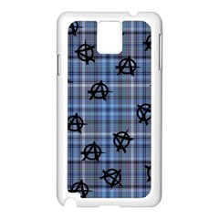 Blue  Plaid Anarchy Samsung Galaxy Note 3 N9005 Case (white) by snowwhitegirl