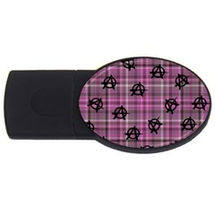 Pink  Plaid Anarchy Usb Flash Drive Oval (4 Gb) by snowwhitegirl