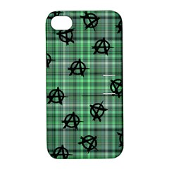 Green  Plaid Anarchy Apple Iphone 4/4s Hardshell Case With Stand by snowwhitegirl