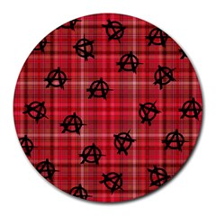 Red Plaid Anarchy Round Mousepads by snowwhitegirl
