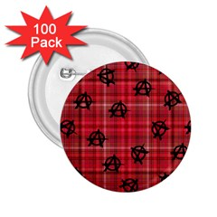 Red Plaid Anarchy 2 25  Buttons (100 Pack)  by snowwhitegirl