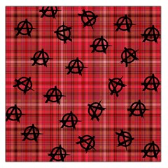 Red Plaid Anarchy Large Satin Scarf (square) by snowwhitegirl