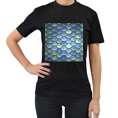 Blue Mermaid Scale Women s T Shirt (black) (two Sided) by snowwhitegirl