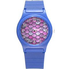 Pink Mermaid Scale Round Plastic Sport Watch (s) by snowwhitegirl
