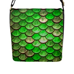 Green Mermaid Scale Flap Closure Messenger Bag (l) by snowwhitegirl