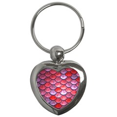 Red Mermaid Scale Key Chains (heart)