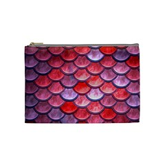 Red Mermaid Scale Cosmetic Bag (medium) by snowwhitegirl