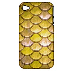 Yellow  Mermaid Scale Apple Iphone 4/4s Hardshell Case (pc+silicone) by snowwhitegirl