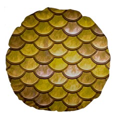 Yellow  Mermaid Scale Large 18  Premium Round Cushions by snowwhitegirl