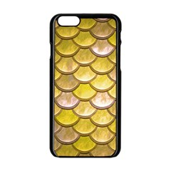 Yellow  Mermaid Scale Apple Iphone 6/6s Black Enamel Case by snowwhitegirl