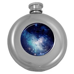 Nebula Blue Round Hip Flask (5 Oz) by snowwhitegirl