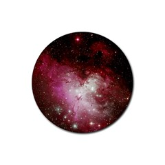 Nebula Red Rubber Round Coaster (4 Pack)