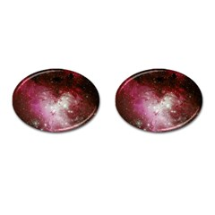 Nebula Red Cufflinks (oval) by snowwhitegirl