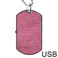 Pink  Denim Dog Tag Usb Flash (one Side) by snowwhitegirl