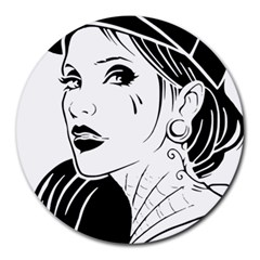 Woman Wth Hat 720 Round Mousepads