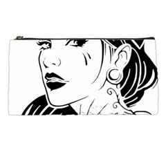 Woman Wth Hat 720 Pencil Cases by snowwhitegirl