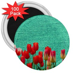 Green Denim Flowers 3  Magnets (100 Pack) by snowwhitegirl