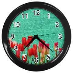 Green Denim Flowers Wall Clock (black)