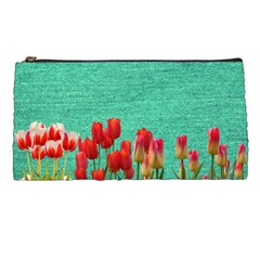 Green Denim Flowers Pencil Cases by snowwhitegirl