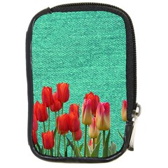 Green Denim Flowers Compact Camera Leather Case by snowwhitegirl