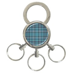Teal Plaid 3 Ring Key Chains by snowwhitegirl