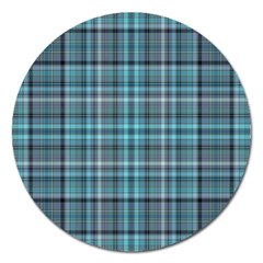 Teal Plaid Magnet 5  (round) by snowwhitegirl