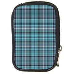 Teal Plaid Compact Camera Leather Case by snowwhitegirl
