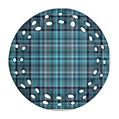 Teal Plaid Ornament (round Filigree) by snowwhitegirl