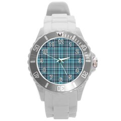 Teal Plaid Round Plastic Sport Watch (l) by snowwhitegirl