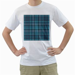 Teal Plaid Men s T-shirt (white)