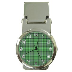 Green Plaid Money Clip Watches