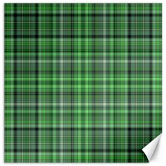 Green Plaid Canvas 16  X 16   by snowwhitegirl
