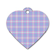 Pink Blue Plaid Dog Tag Heart (one Side)