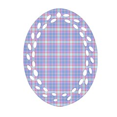 Pink Blue Plaid Oval Filigree Ornament (two Sides) by snowwhitegirl