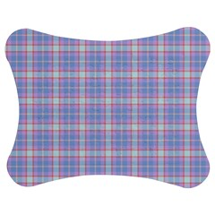 Pink Blue Plaid Jigsaw Puzzle Photo Stand (bow) by snowwhitegirl