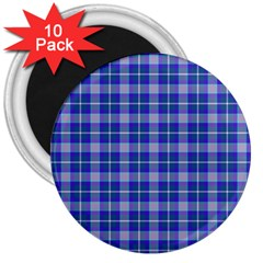 Blue Teal Plaid 3  Magnets (10 Pack)