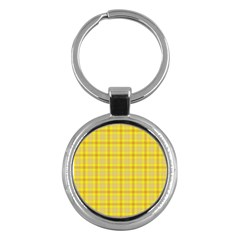 Yellow Sun Plaid Key Chains (round)  by snowwhitegirl