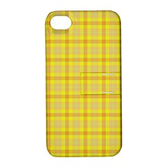 Yellow Sun Plaid Apple Iphone 4/4s Hardshell Case With Stand by snowwhitegirl