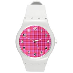 Valentine Pink Red Plaid Round Plastic Sport Watch (m) by snowwhitegirl