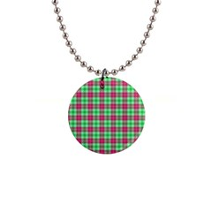 Pink Green Plaid Button Necklaces
