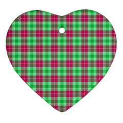 Pink Green Plaid Heart Ornament (two Sides) by snowwhitegirl