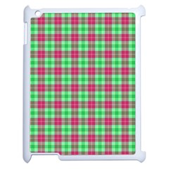 Pink Green Plaid Apple Ipad 2 Case (white) by snowwhitegirl